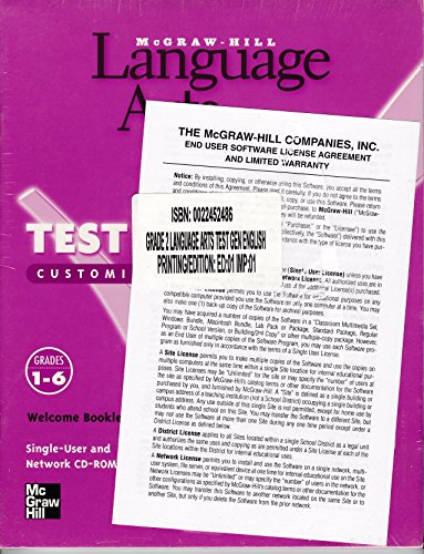 Book Cover Language Arts Test Generator (Customized Computer Testing, Grades 1 - 6)