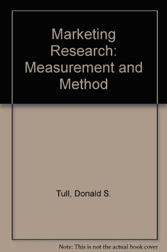 Book Cover Marketing Research: Measurement and Method
