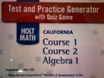 Book Cover Test and Practice Generator with Quiz Game (HOLT MATH CALIFORNIA Course 1 Course 2 Algebra 1) (HOLT MATH CALIFORNIA Course 1 Course 2 Algebra 1)