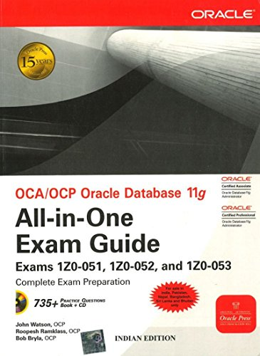 Book Cover OCA/OCP Oracle Database 11g All­in­One Exam Guide with CD­ROM