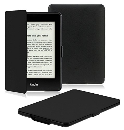 Book Cover OMOTON Kindle Paperwhite Case Cover - The Thinnest Lightest PU Leather Smart Cover Kindle Paperwhite fits all Paperwhite generations prior to 2018 (Will not fit All new Paperwhite 10th Gen), Black