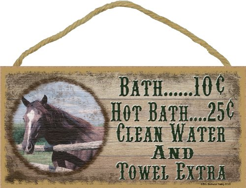 Book Cover Western Horse Bath 10 Cent Clean Water Towel Extra Sign Plaque Bath Decor 5