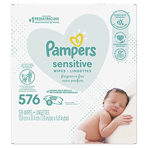 Book Cover Baby Wipes, Pampers Sensitive Water Based Baby Diaper Wipes, Hypoallergenic and Unscented, 9X Pop-Top Packs, 576 Count Total Wipes
