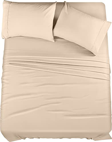 Book Cover Utopia Bedding Bed Sheet Set - 4 Piece Full Bedding - Soft Brushed Microfiber Fabric - Shrinkage & Fade Resistant - Easy Care (Full, Beige)