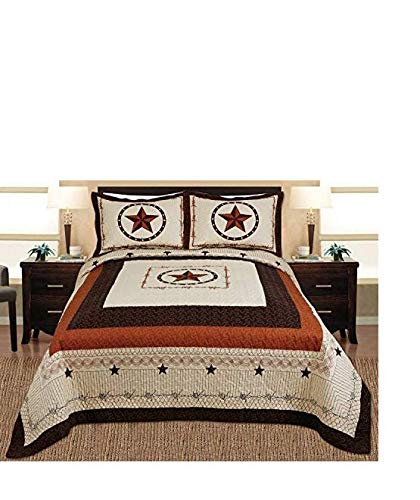 Book Cover 3-piece Western Lone Star Barb Wire Cabin / Lodge Quilt Bedspread Coverlet Set Full / Queen Size Beige, Brown, Black