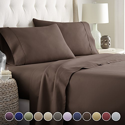 Book Cover Hotel Luxury Bed Sheets Set- 1800 Series Platinum Collection-Deep Pocket, Wrinkle & Fade Resistant(King,Chocolate)