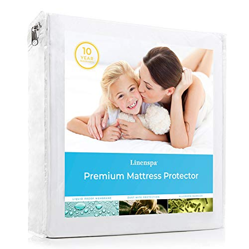 Book Cover LINENSPA Premium Smooth Fabric Mattress Protector - 100% Waterproof - Hypoallergenic - Top Protection Only - Vinyl Free - Twin