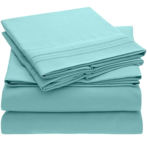 Book Cover Mellanni Sheet Set Brushed Microfiber 1800 Bedding-Wrinkle Fade, Stain Resistant - Hypoallergenic - 3 Piece (Twin, Baby Blue),
