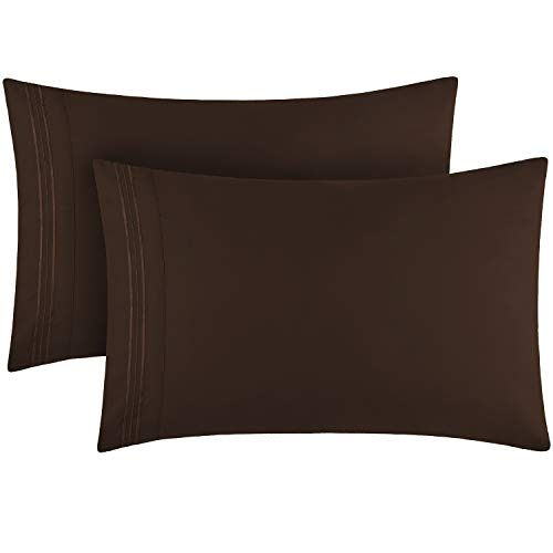 Book Cover Mellanni Luxury Pillowcase Set - Brushed Microfiber 1800 Bedding - Wrinkle, Fade, Stain Resistant - Hypoallergenic (Set of 2 Standard Size, Brown)