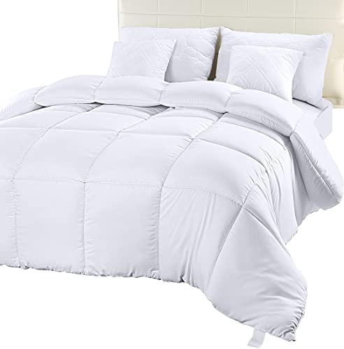 Book Cover Utopia Bedding Comforter Duvet Insert - Quilted Comforter with Corner Tabs -  Box Stitched Down Alternative Comforter (Queen, White)