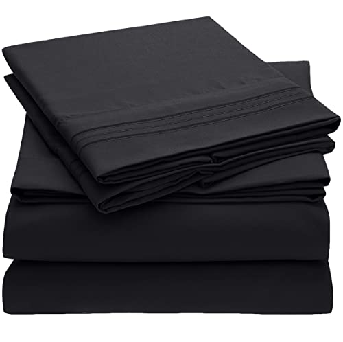 Book Cover Mellanni Sheet Set Brushed Microfiber 1800 Bedding-Wrinkle Fade, Stain Resistant - Hypoallergenic - 3 Piece (Twin, Black),