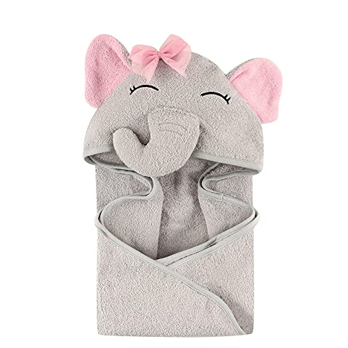 Book Cover Hudson Baby Animal Face Hooded Towel for Girls, Pretty Elephant