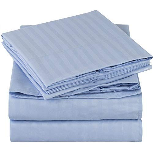 Book Cover Mellanni Striped Bed Sheet Set - Brushed Microfiber 1800 Bedding - Wrinkle, Fade, Stain Resistant - 4 Piece (King, Light Blue)