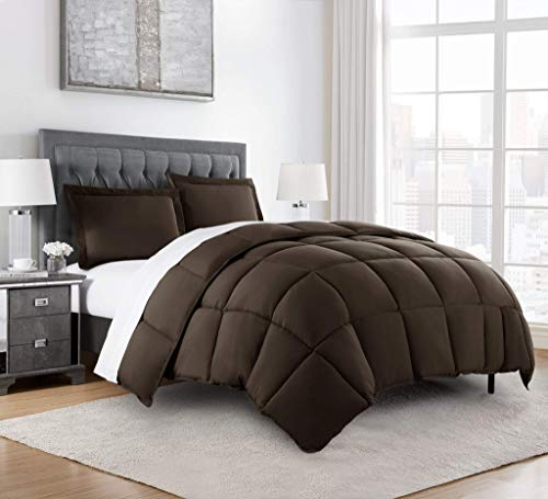 Book Cover Chezmoi Collection 3-Piece Down Alternative Comforter Set (Queen, Chocolate)