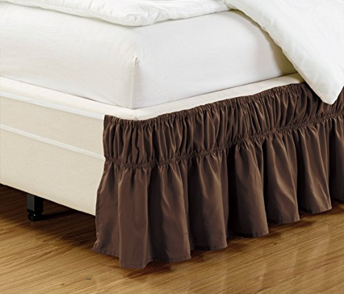 Book Cover Grand Linen Wrap Around Dark Brown Ruffled Elastic Solid Bed Skirt Fits Both Queen, King and Cal King Size Bedding High Thread Count 14 inch Fall Microfiber Dust Ruffle, Silky Soft & Wrinkle Free.