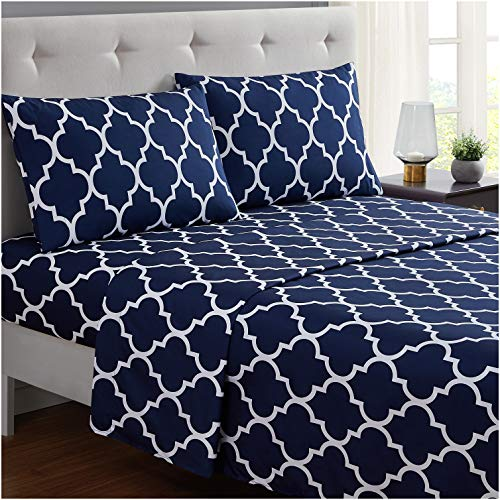 Book Cover Mellanni Bed Sheet Set Twin-Navy-Blue - Brushed Microfiber Printed Bedding - Deep Pocket, Wrinkle, Fade, Stain Resistant - 3 Piece (Twin, Quatrefoil Navy Blue)