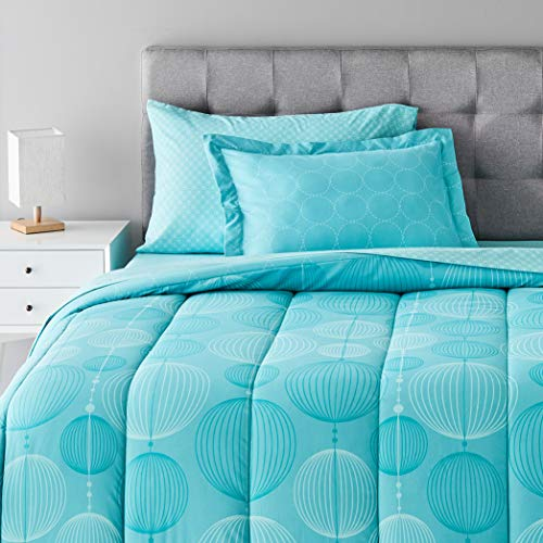 Book Cover AmazonBasics 5-Piece Bed-In-A-Bag, Twin/Twin XL, Industrial Teal