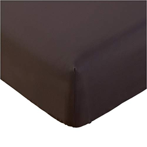 Book Cover Mellanni Fitted Sheet TwinXL Brown - Brushed Microfiber 1800 Bedding - College Dorm Room - Wrinkle, Fade, Stain Resistant - Hypoallergenic - 1 Fitted Sheet Only (Twin XL, Brown)