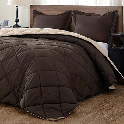 Book Cover downluxe Lightweight Solid Comforter Set (King) with 2 Pillow Shams - 3-Piece Set - Brown and Tan - Down Alternative Reversible Comforter