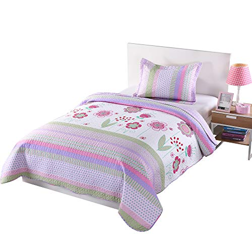 Book Cover MarCielo 2 Piece Kids Bedspread Quilts Set Throw Blanket for Teens Girls Bed Printed Bedding Coverlet, Twin Size, Purple Floral Striped (Twin)