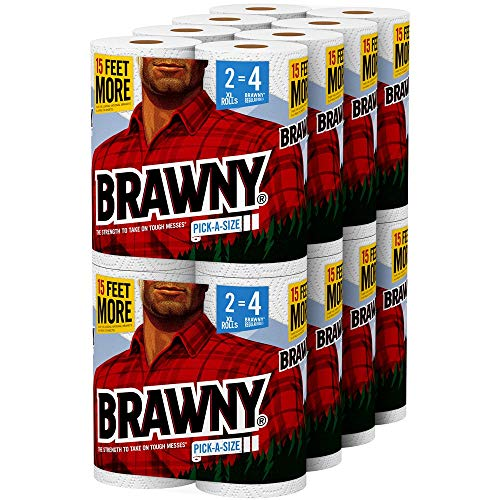 Book Cover Brawny Paper Towels, 16 XL Rolls, Pick-A-Size, White, 16 = 32 Regular Rolls