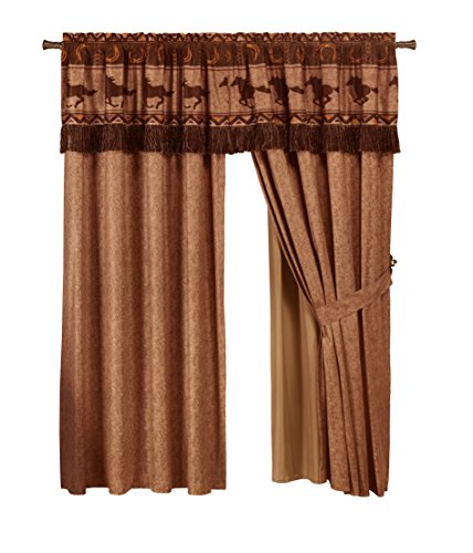 Book Cover Chezmoi Collection Sedona 4-Piece Southwestern Wild Horses Window Curtain Set