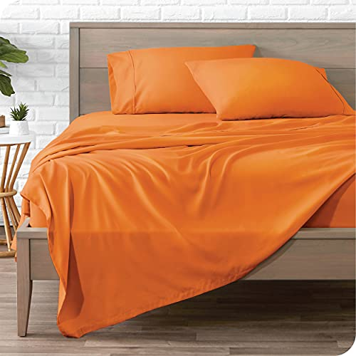 Book Cover Bare Home Twin XL Sheet Set - College Dorm Size - Premium 1800 Ultra-Soft Microfiber Sheets Twin Extra Long - Double Brushed - Hypoallergenic - Wrinkle Resistant (Twin XL, Orange)
