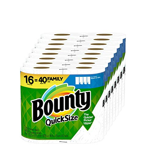 Book Cover Bounty Quick-Size Paper Towels, White, Family Rolls, 16 Count (Equal to 40 Regular Rolls)