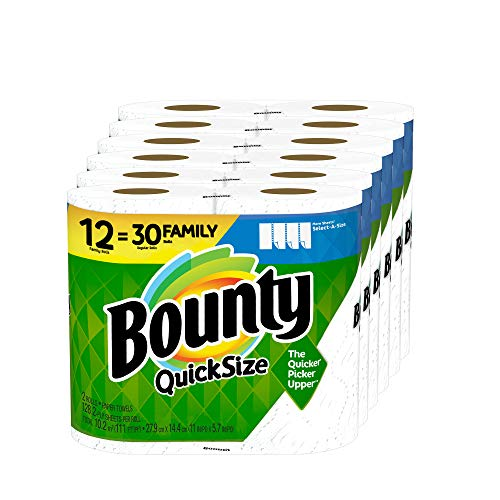 Book Cover Bounty Quick-Size Paper Towels, 12 Family Rolls, White