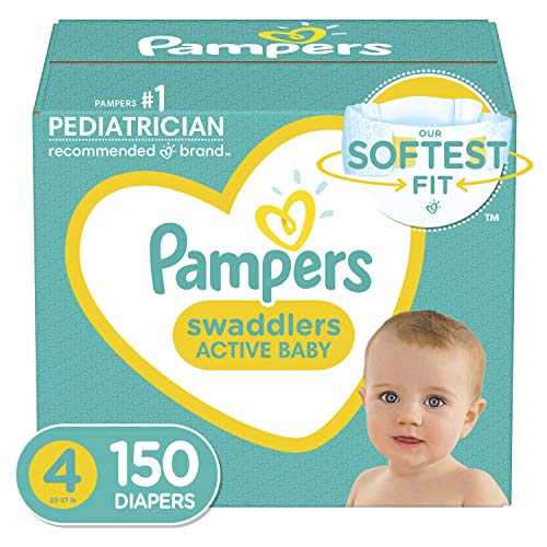 Book Cover Diapers Size 4, 150 Count - Pampers Swaddlers Disposable Baby Diapers, ONE MONTH SUPPLY