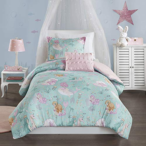 Book Cover Mi Zone Kids Darya Comforter Mermaid Clam Shell Sea Ocean Whale Fish Printed Scale Pillow Ultra-Soft Overfilled Down Alternative Hypoallergenic All Season Bedding-Set, Twin, Aqua/Pink