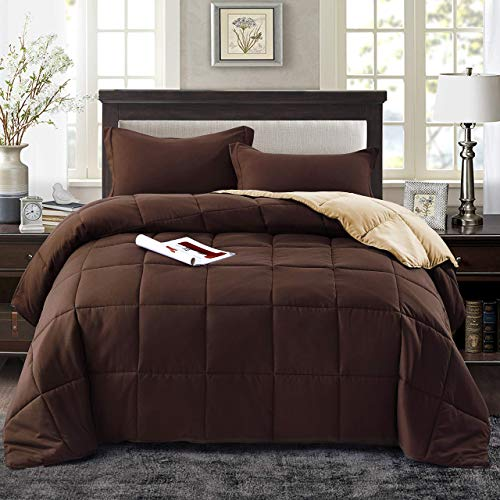 Book Cover HIG 3pc Down Alternative Comforter Set - All Season Reversible Comforter with Two Shams - Quilted Duvet Insert with Corner Tabs -Box Stitched -Hypoallergenic, Soft, Fluffy(Full/Queen, Chocolate/Taupe)