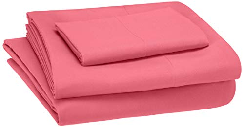 Book Cover AmazonBasics Kid's Sheet Set - Soft, Easy-Wash Microfiber - Twin, Hot Pink