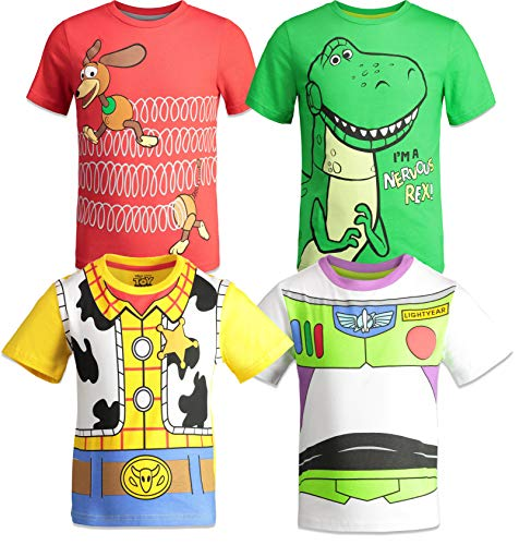 Book Cover Disney Pixar Toy Story Boys 4 Pack T-Shirts Woody Buzz Lightyear Rex Slinky Dog 5